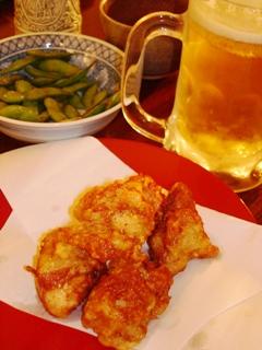 モチモチの鶏の唐揚げ&生ビール