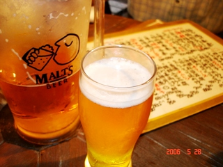 上海厨房でビール